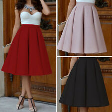 Womens Ladies Plain Stretch High Waisted Bodycon A-line Midi Skirt Pencil Skirts