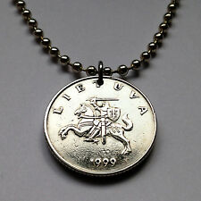 Lithuania 1 Litas coin pendant armored horse necklace medieval knight n001504