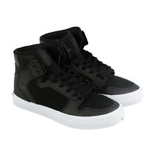 Supra Vaider Boys Black Leather & Textile High Top Lace Up Sneakers Shoes