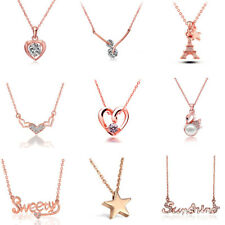 Various Style Rose Gold Plated Womens Exquisite Crystal Fashion Pendant Necklace