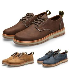 Faux Leather Casual Fashion Work Oxford Ankle Boots mens Shoes Size UK 6-9