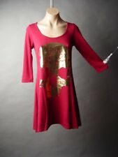 Sale Skull Design Trapeze Burgundy Sweater Knit Top Mini Dress 09 mv Tunic S M L