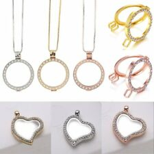 DIY Living Memory Floating Round Heart Locket Pendant Necklace Charm Holder Gift