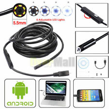 5M 7mm Android Endoscope Waterproof Borescope USB Inspection Camera 6 LED New