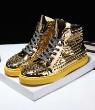 New Men's Lace Up Leather Sneaker Shiny Golden Boots Full Rivet Shoes High Tops