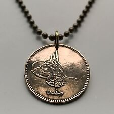 1864 Turkey 5 para coin pendant Turkish Tughra Ottoman empire Istanbul n002058
