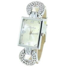 Women Synthetic Leather Band Rhinestone Square Watch Analog Quartz Wrist N4U8