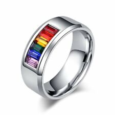 Rainbow Gem Ring Stainless Steel Fashion LGBT Jewelry Rainbow Ring Gay Ring Hot