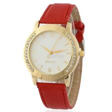 Women Rhinestones Round Watch Synthetic Leather Band Analog Quartz Wrist RR6