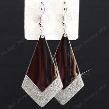 New 6-12Pairs Silver Frosted Fashion Women  Drop Earrings Wholesale Jewelry Lots