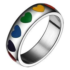 Stainless Steel Rainbow Resin Heart LGBT Lesbian Gay Pride Ring 8mm Charming