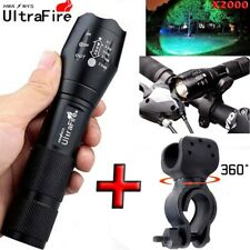 Ultrafire 20000LM T6 LED Flashlight Zoomable Tactical 18650+Torch Holder Hunting