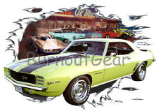 1969 Yellow Chevy Camaro Z28 Custom Hot Rod Diner T-Shirt 69 Muscle Car Tees