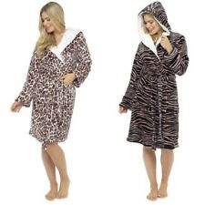 Ladies Supersoft Big Cat Animal Print Hooded Wrap Over Bathrobe Dressing Gown