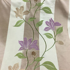 Floral Embroidered Striped Faux Silk Curtain/Craft Fabric Mauve