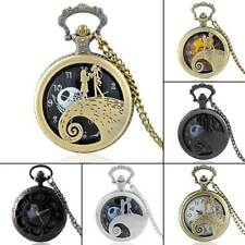 Vintage The Nightmare Before Christmas Pocket Watch Quartz Pendant Necklace Gift