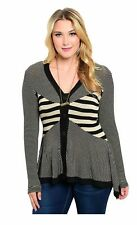 14-20 BLACK/BEIGE ASSYMETRIC STRIPED FITTED FLARED FINE KNIT ILLUSION CARDIGAN