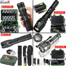 Tactical Zoomable 18650 Flashlight 5Mode 40000LM T6 LED Focus Torch+Case+Battery