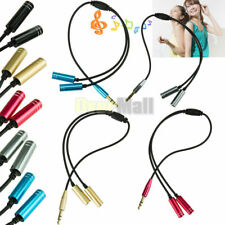 3.5mm Stereo Headphone Audio Male To 2 Female Y Splitter Cable Plug Jack Adapter