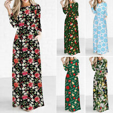 Sale Maxi Christmas Women's Dress Sleeve Womens Party Ladie Long Printed Gifts