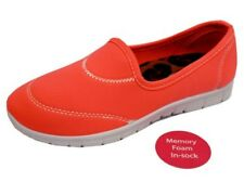 LADIES CORAL SLIP-ON MEMORY FOAM COMFORT WALKING TRAINER PUMPS SHOES UK 3-8