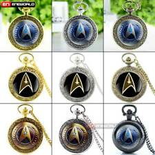 Antique Star Trek Pocket Watch Quartz Full Hunter Necklace Pendant Chain Gift