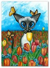 Siamese Cat - Butterfly's Whisper Tulips - Signed Bihrle Art Prints ck424