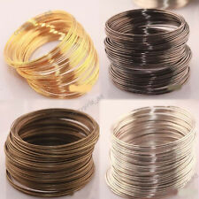 Hot 100/500 Loop Bracelet Silver/Gold Plated Memory Steel Wire Cuff Bangle 0.6mm