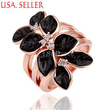 18K Rose Gold Filled Black Petal Crystal Cocktail Size 7-8 Ring 25*15MM Y196