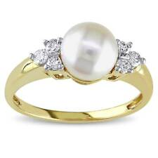 Miadora 14k Yellow Gold Cultured Akoya Cultured Pearl and 1/5ct TDW Diamond Ring