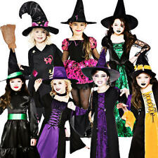 Halloween Witch + Hat Girls Fancy Dress Up Horror Kids Childrens Witches Costume