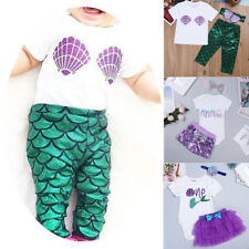 Kids Baby Girl Mermaid Costume Set Tops+Pants Skirt Shorts Clothes Party Outfits