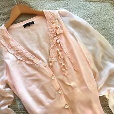 S New Anthropologie Womens Peach Button Up Cardigan Chiffon Blouse Top SMALL