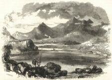 WALES: Snowdon, from Capel Curig; antique print 1850