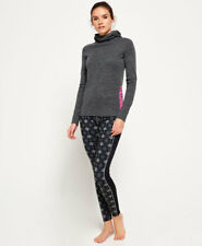 New Womens Superdry All Over Print Carbon Base Layer Leggings Black Aop