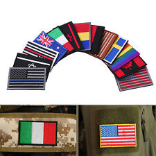17 Nations Flag Emblem Patch Embroidered Applique National Country Sew Trim