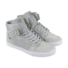 Supra Vaider Mens Gray Canvas & Suede High Top Lace Up Sneakers Shoes