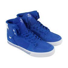 Supra Vaider Mens Blue Canvas & Suede High Top Lace Up Sneakers Shoes