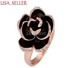18K Rose Gold Filled Black Rose Shaped with Crystal Ring Size 6-8 Y197