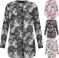 Plus Womens Floral Sheer Chiffon Long Sleeve Button Collar Shirt Ladies Top