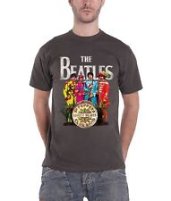 The Beatles T Shirt Sgt Pepper Lonely Hearts Band Logo Official Mens New Grey