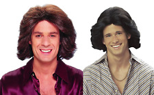 70S SURFER ADULT MENS MALE DUDE DISCO COSTUME FEATHERED WIG BROWN BLACK DELUXE