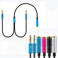 3.5mm Stereo Audio Mic Y Splitter Jack Female to 2 Male Headphone Adapter Cable