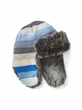 Baby Gap NWT Blue Stripe Faux Fur Lined Trapper Hat XS/S S/M M/L $30