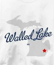 Walled Lake, Michigan MI MAP Souvenir T Shirt All Sizes & Colors