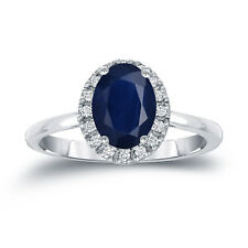 Auriya Platinum 1ct Oval-Cut Blue Sapphire and 1/8ct TDW Diamond Halo Engagement