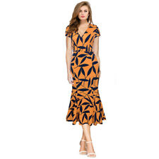 Womens Long Leaf Print Wiggle Swing Dress Ladies Evening Cocktail Party Dresses