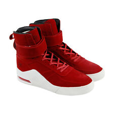 Radii Apex Mens Red Suede High Top Lace Up Sneakers Shoes