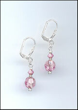 Casual Silver Earrings made with Swarovski LIGHT PINK Crystals