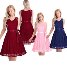 Women V Neck Floral Lace Evening Dress Formal Bridesmaid Dress Prom Party Gown